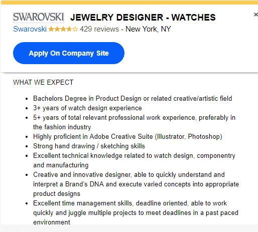 Требования на должность дизайнера ювелирных украшений в Swarovski 18615643553